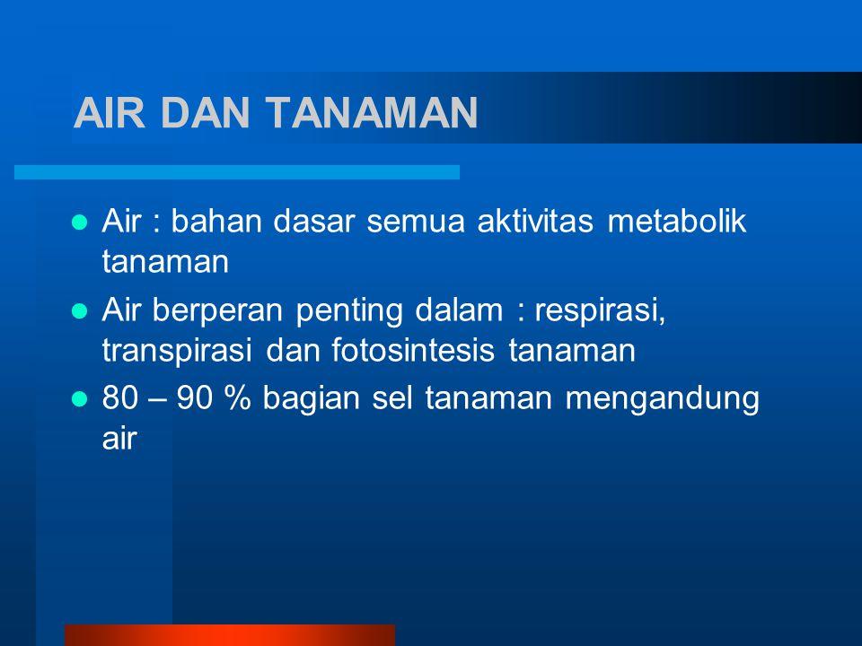 AIR DAN TANAMAN Air : bahan dasar semua aktivitas metabolik tanaman