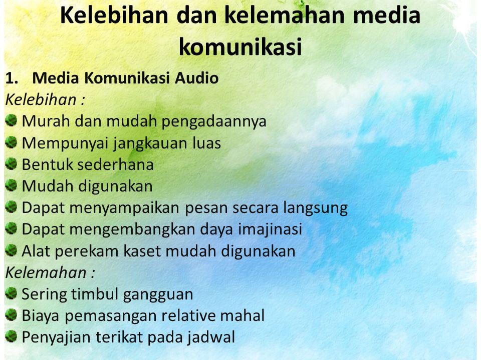 Kelebihan dan kelemahan media komunikasi