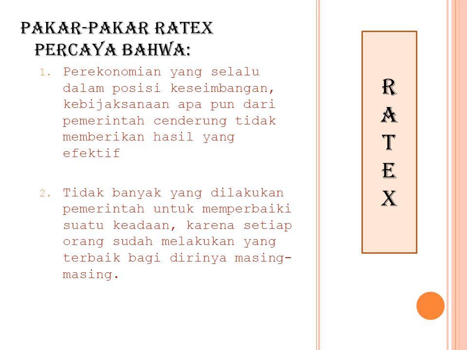 r A T E x Pakar-pakar Ratex percaya bahwa: