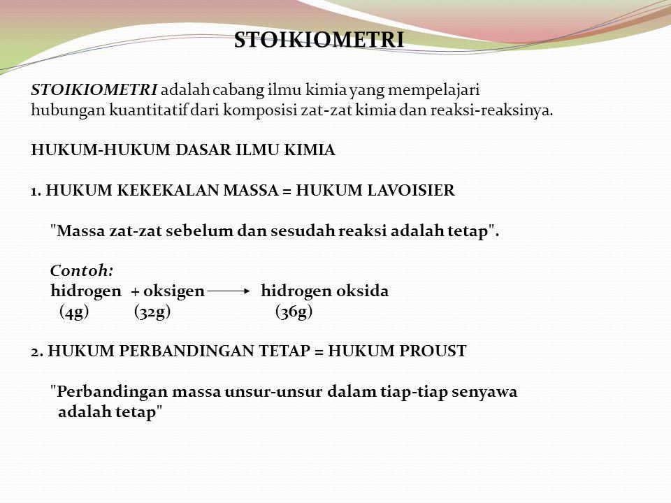 STOIKIOMETRI STOIKIOMETRI adalah cabang ilmu kimia yang mempelajari