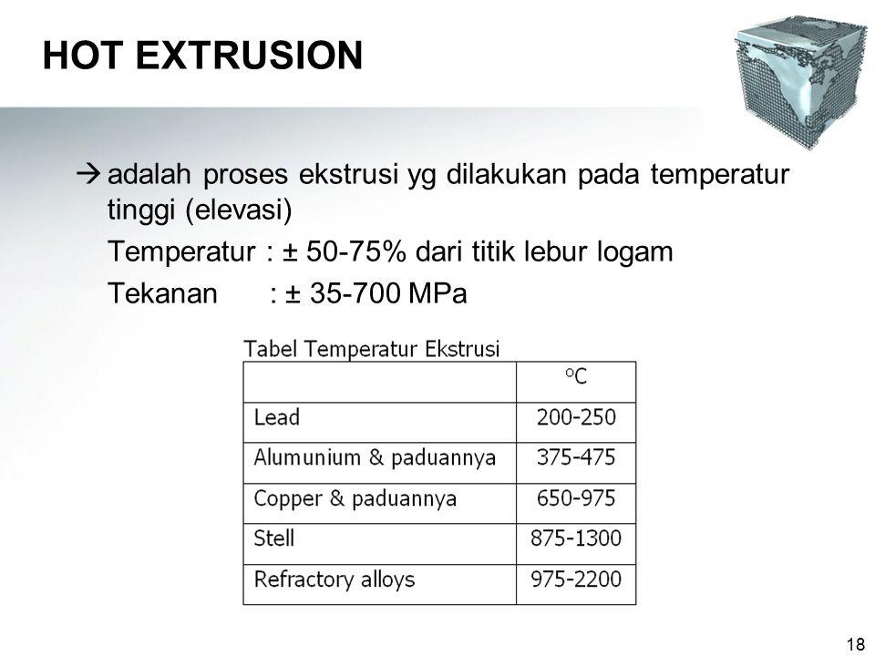 HOT EXTRUSION adalah proses ekstrusi yg dilakukan pada temperatur tinggi (elevasi) Temperatur : ± 50-75% dari titik lebur logam.