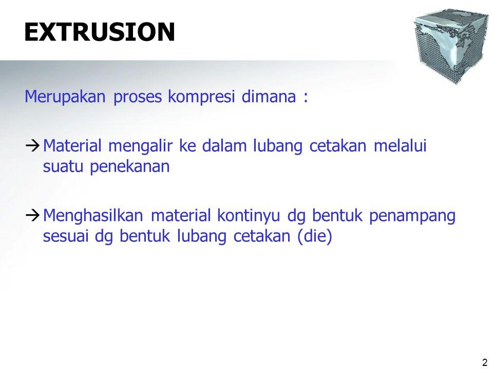 EXTRUSION Merupakan proses kompresi dimana :
