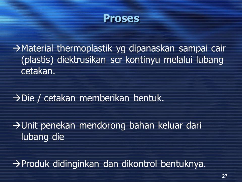 Proses Material thermoplastik yg dipanaskan sampai cair (plastis) diektrusikan scr kontinyu melalui lubang cetakan.