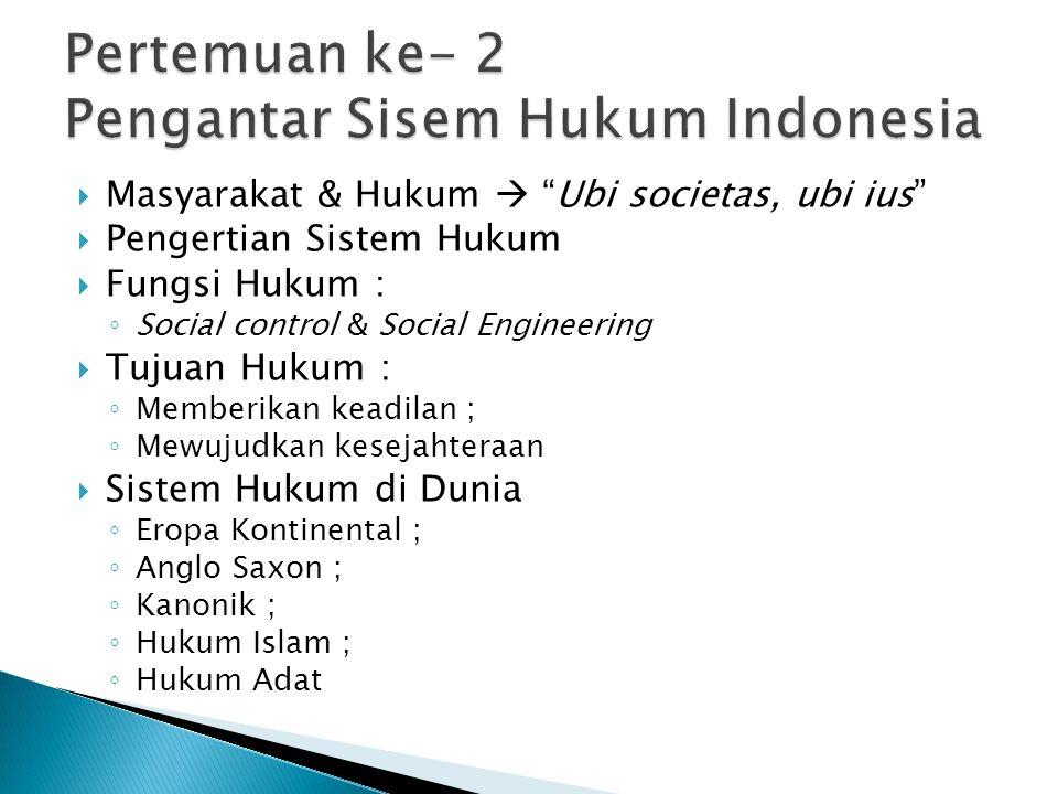 Pertemuan ke- 2 Pengantar Sisem Hukum Indonesia