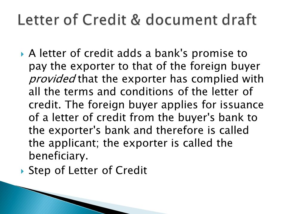Letter of Credit & document draft