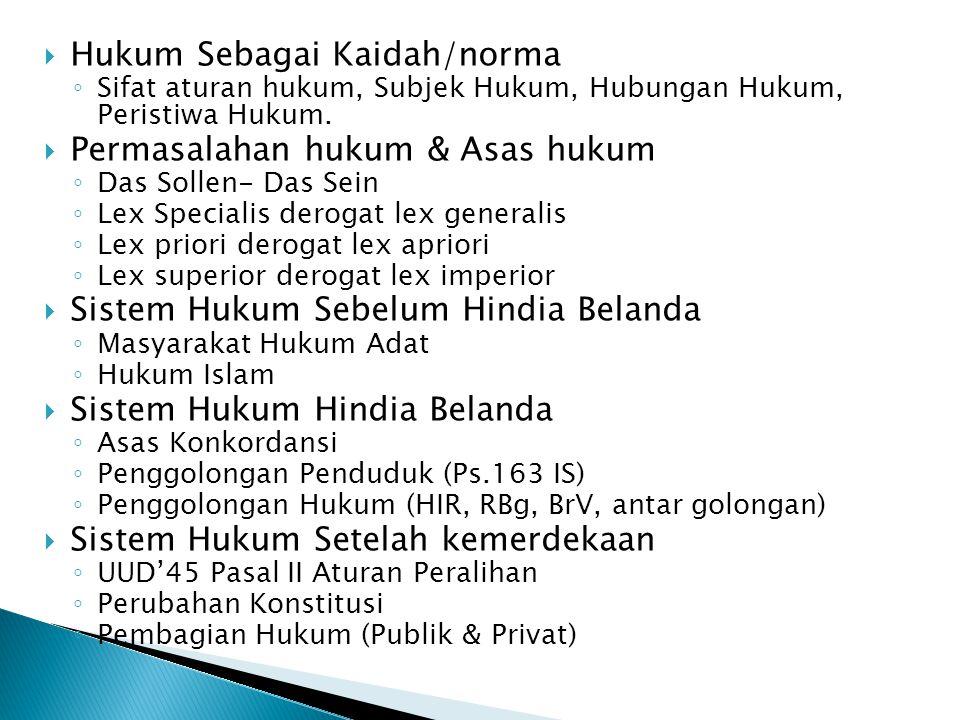 Hukum Sebagai Kaidah/norma Permasalahan hukum & Asas hukum