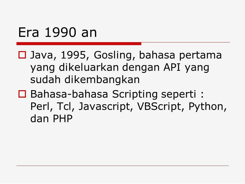Era 1990 an Java, 1995, Gosling, bahasa pertama yang dikeluarkan dengan API yang sudah dikembangkan.