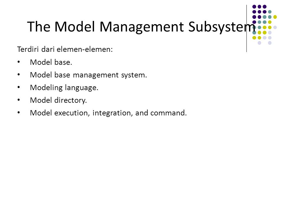 The Model Management Subsystem