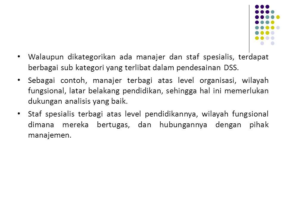 Walaupun dikategorikan ada manajer dan staf spesialis, terdapat berbagai sub kategori yang terlibat dalam pendesainan DSS.