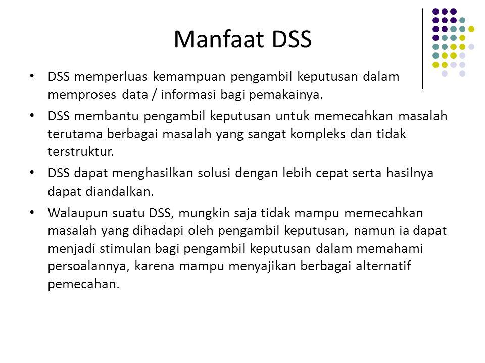 Manfaat DSS DSS memperluas kemampuan pengambil keputusan dalam memproses data / informasi bagi pemakainya.