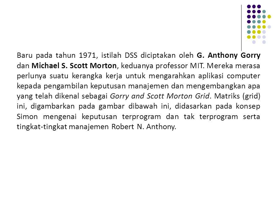 Baru pada tahun 1971, istilah DSS diciptakan oleh G
