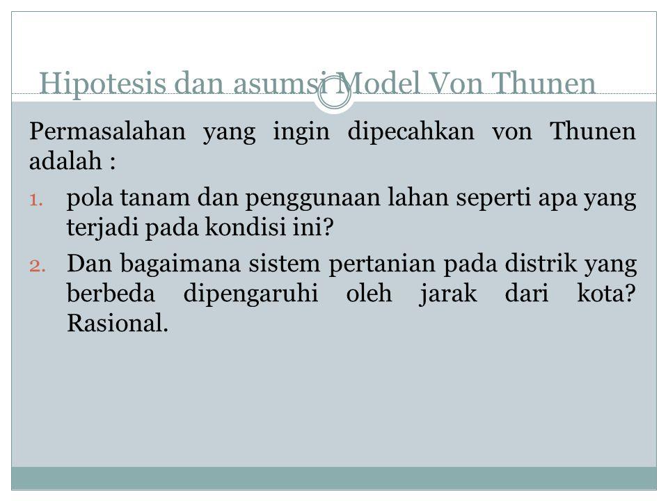 Hipotesis dan asumsi Model Von Thunen