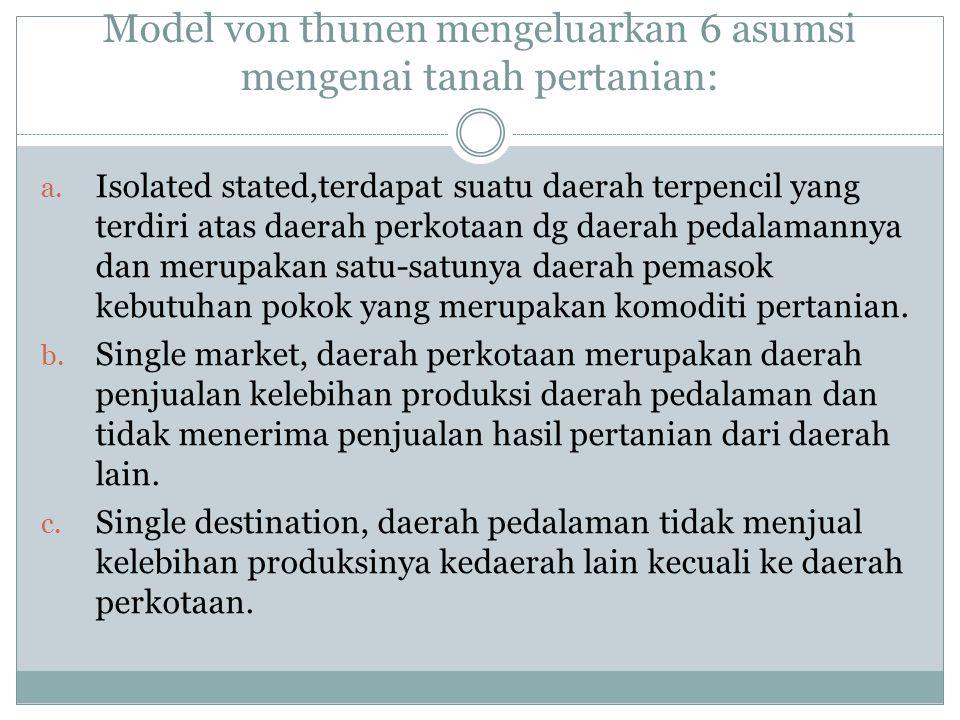 Model von thunen mengeluarkan 6 asumsi mengenai tanah pertanian: