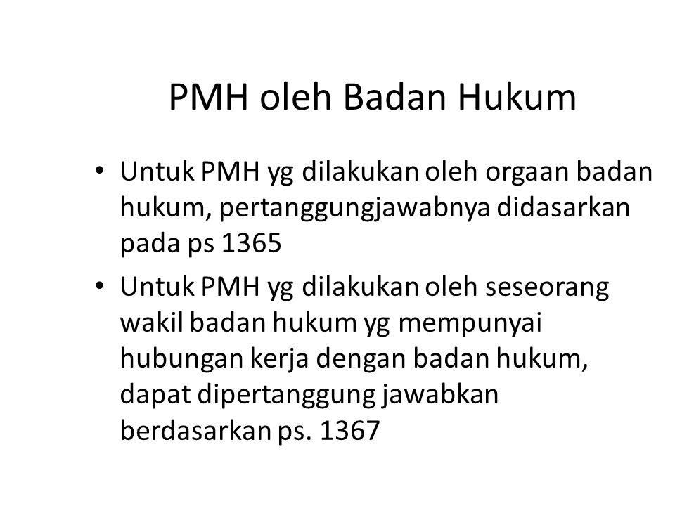 PMH oleh Badan Hukum Untuk PMH yg dilakukan oleh orgaan badan hukum, pertanggungjawabnya didasarkan pada ps 1365.