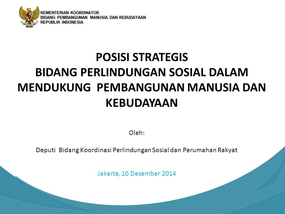 Deputi Bidang Koordinasi Perlindungan Sosial dan Perumahan Rakyat
