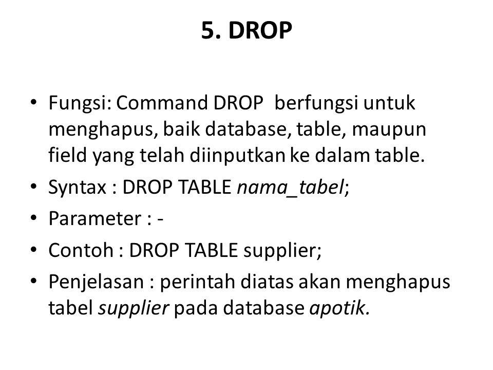 5. DROP Fungsi: Command DROP berfungsi untuk menghapus, baik database, table, maupun field yang telah diinputkan ke dalam table.