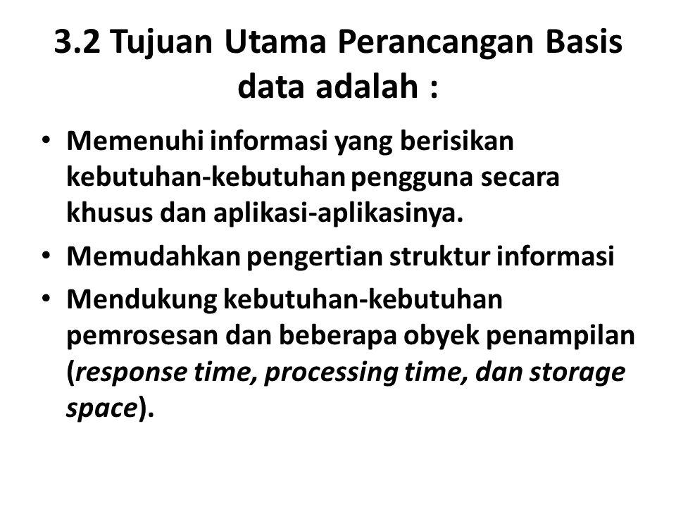 3.2 Tujuan Utama Perancangan Basis data adalah :