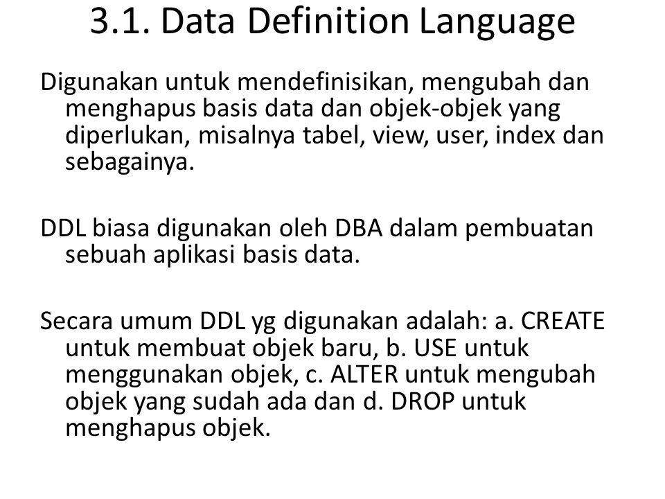3.1. Data Definition Language