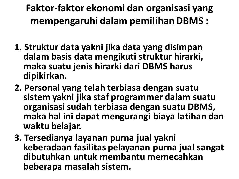 Faktor-faktor ekonomi dan organisasi yang mempengaruhi dalam pemilihan DBMS :