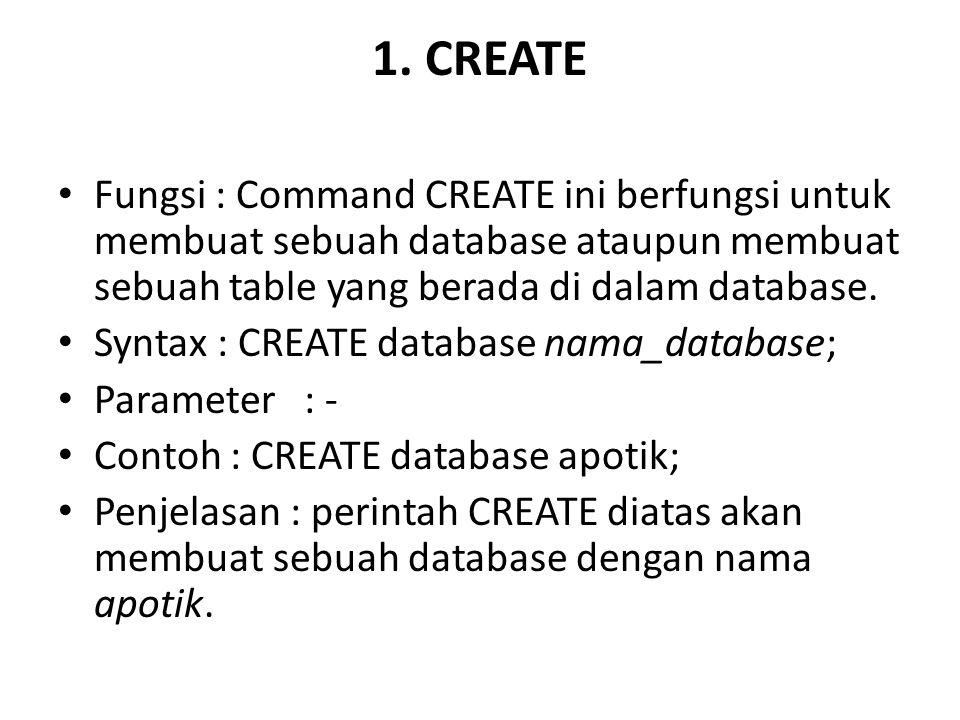 1. CREATE Fungsi : Command CREATE ini berfungsi untuk membuat sebuah database ataupun membuat sebuah table yang berada di dalam database.
