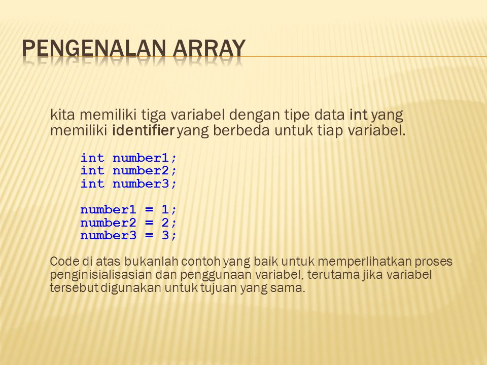 Pengenalan array