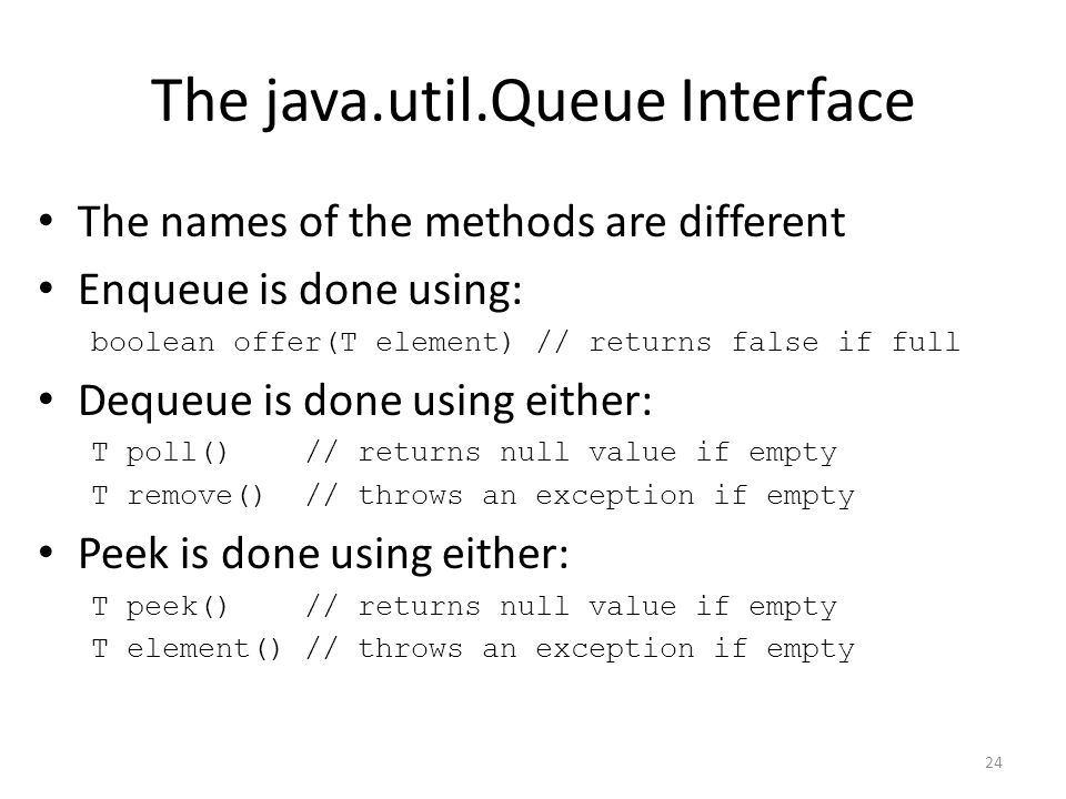 The java.util.Queue Interface