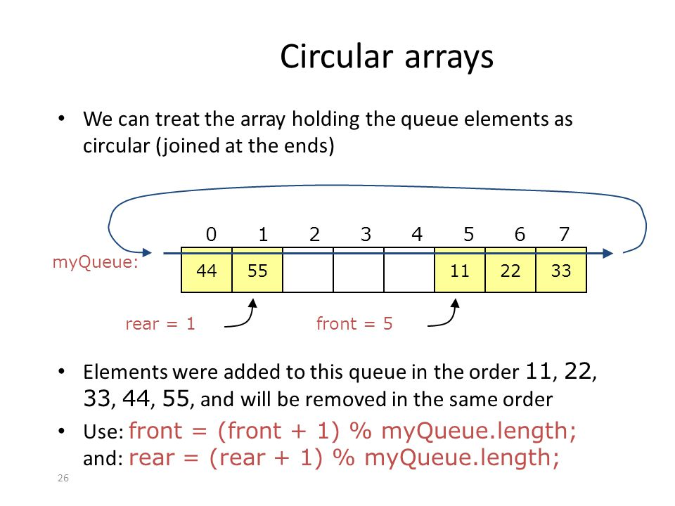 Circular arrays We can treat the array holding the queue elements as circular (joined at the ends) 44.