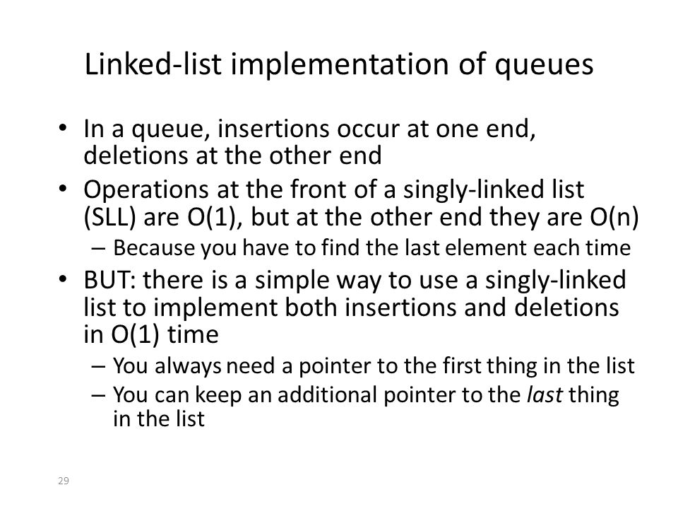 Linked-list implementation of queues