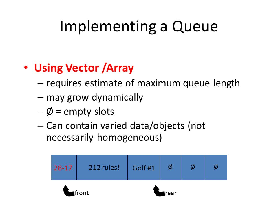Implementing a Queue Using Vector /Array