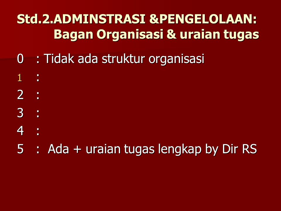 Std.2.ADMINSTRASI &PENGELOLAAN: Bagan Organisasi & uraian tugas
