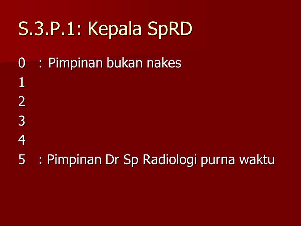 S.3.P.1: Kepala SpRD 0 : Pimpinan bukan nakes 1 2 3 4
