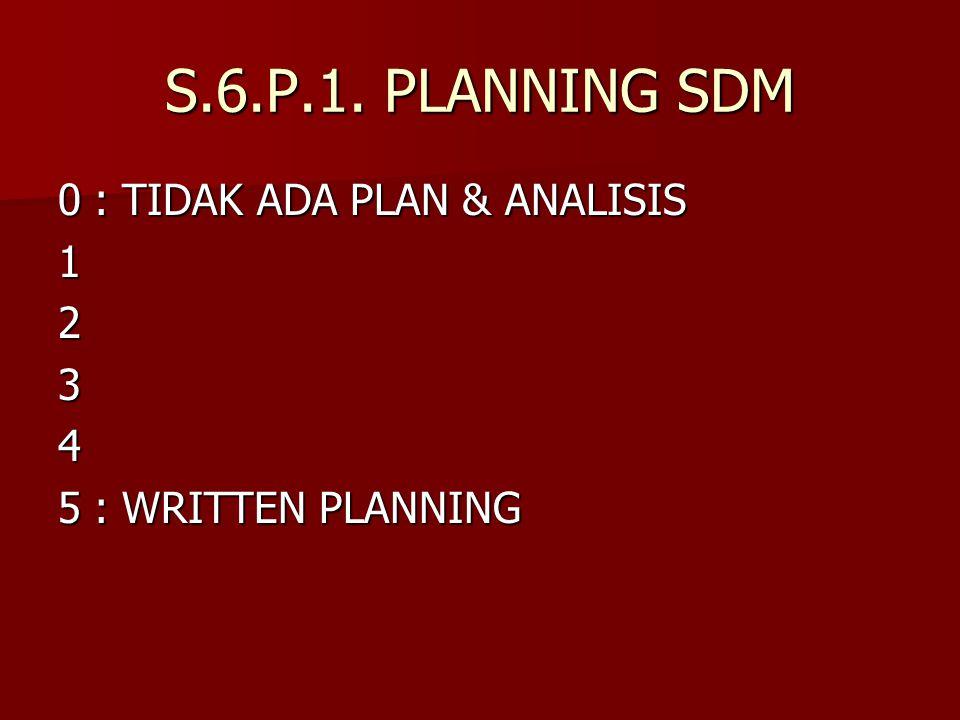 S.6.P.1. PLANNING SDM 0 : TIDAK ADA PLAN & ANALISIS 1 2 3 4