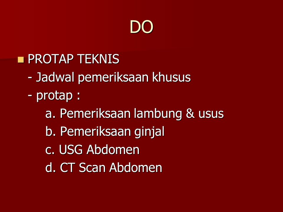 DO PROTAP TEKNIS - Jadwal pemeriksaan khusus - protap :