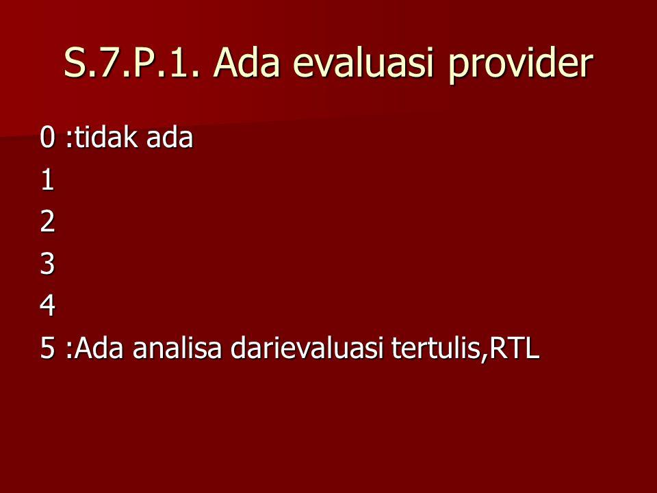 S.7.P.1. Ada evaluasi provider