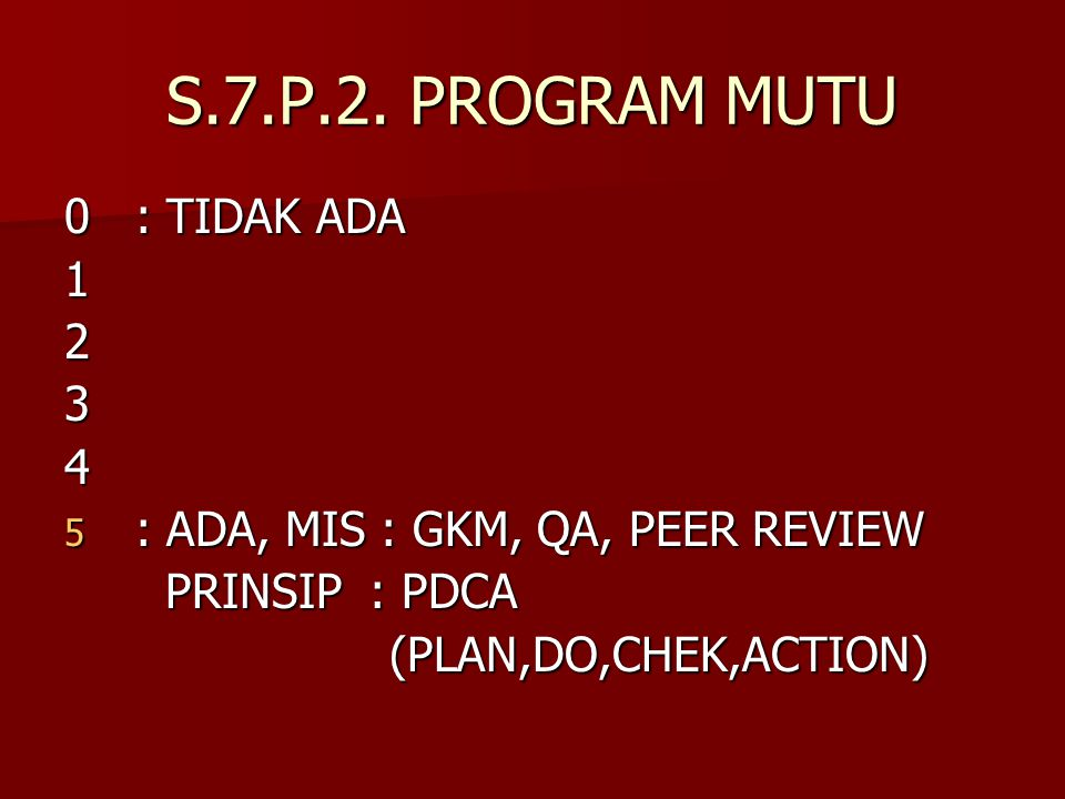 S.7.P.2. PROGRAM MUTU 0 : TIDAK ADA 1 2 3 4