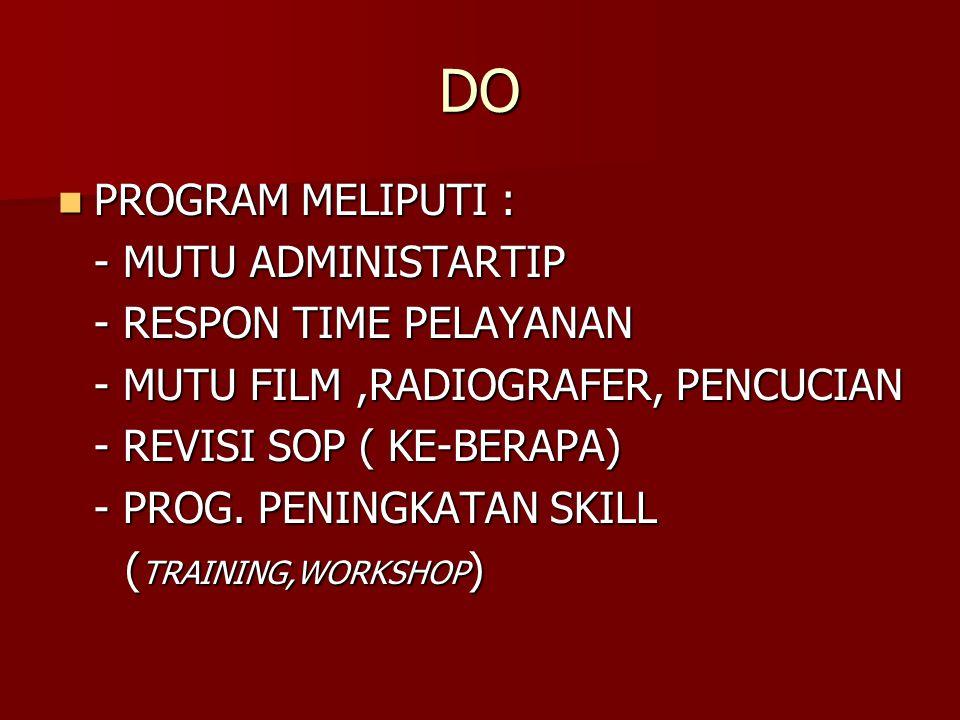 DO PROGRAM MELIPUTI : - MUTU ADMINISTARTIP - RESPON TIME PELAYANAN