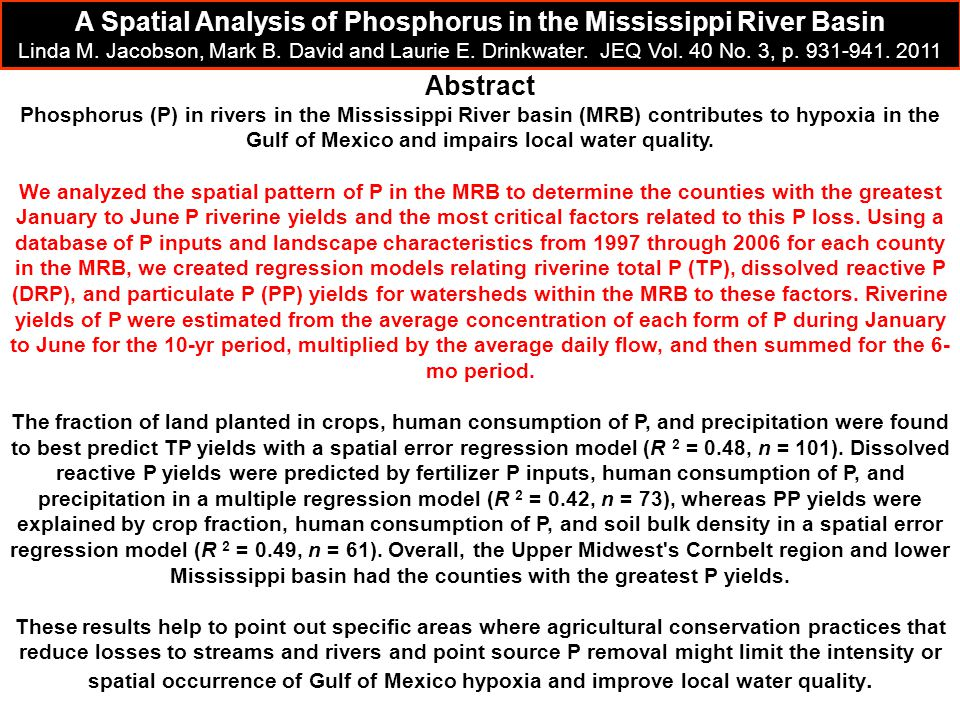 A Spatial Analysis of Phosphorus in the Mississippi River Basin