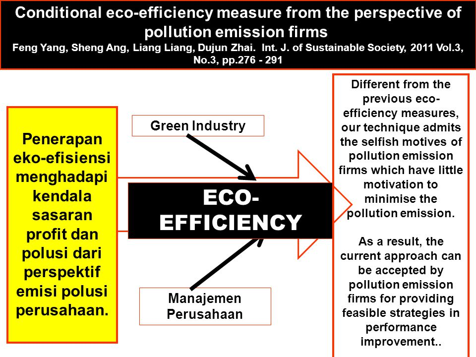 Conditional eco-efficiency measure from the perspective of pollution emission firms