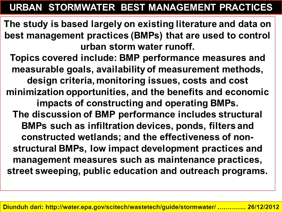 URBAN STORMWATER BEST MANAGEMENT PRACTICES