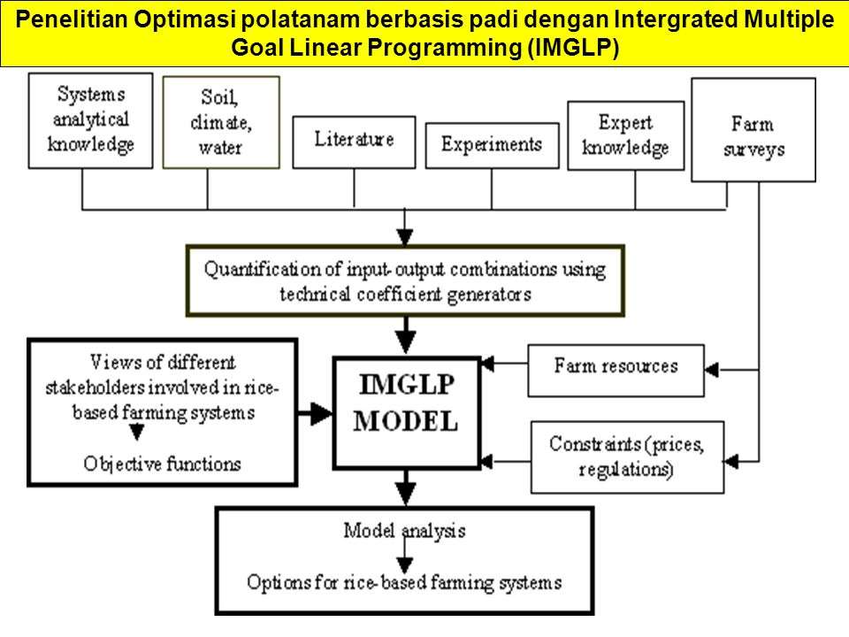 Penelitian Optimasi polatanam berbasis padi dengan Intergrated Multiple Goal Linear Programming (IMGLP)
