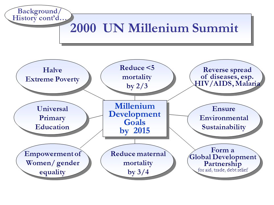 Background/ History cont'd… Millenium Development Goals