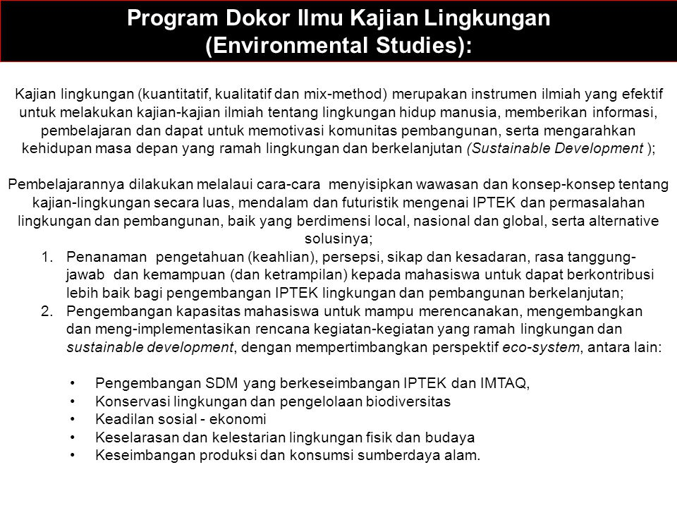 Program Dokor Ilmu Kajian Lingkungan (Environmental Studies):