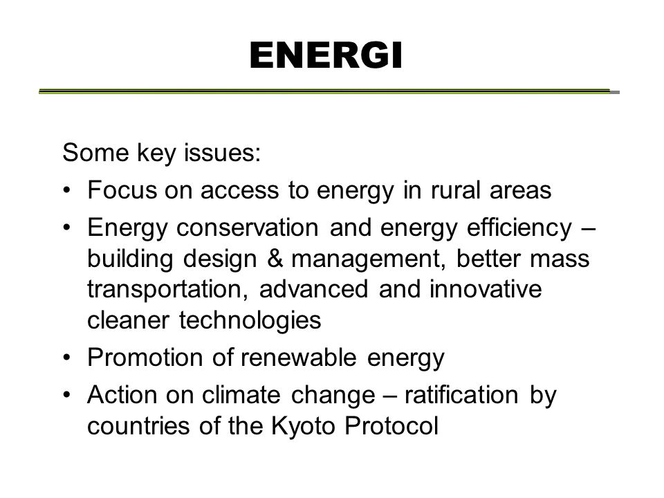 ENERGI Some key issues: Focus on access to energy in rural areas