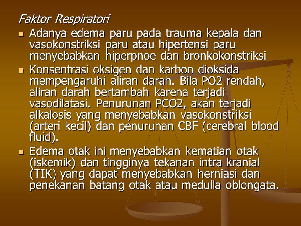 Faktor Respiratori Adanya edema paru pada trauma kepala dan vasokonstriksi paru atau hipertensi paru menyebabkan hiperpnoe dan bronkokonstriksi.