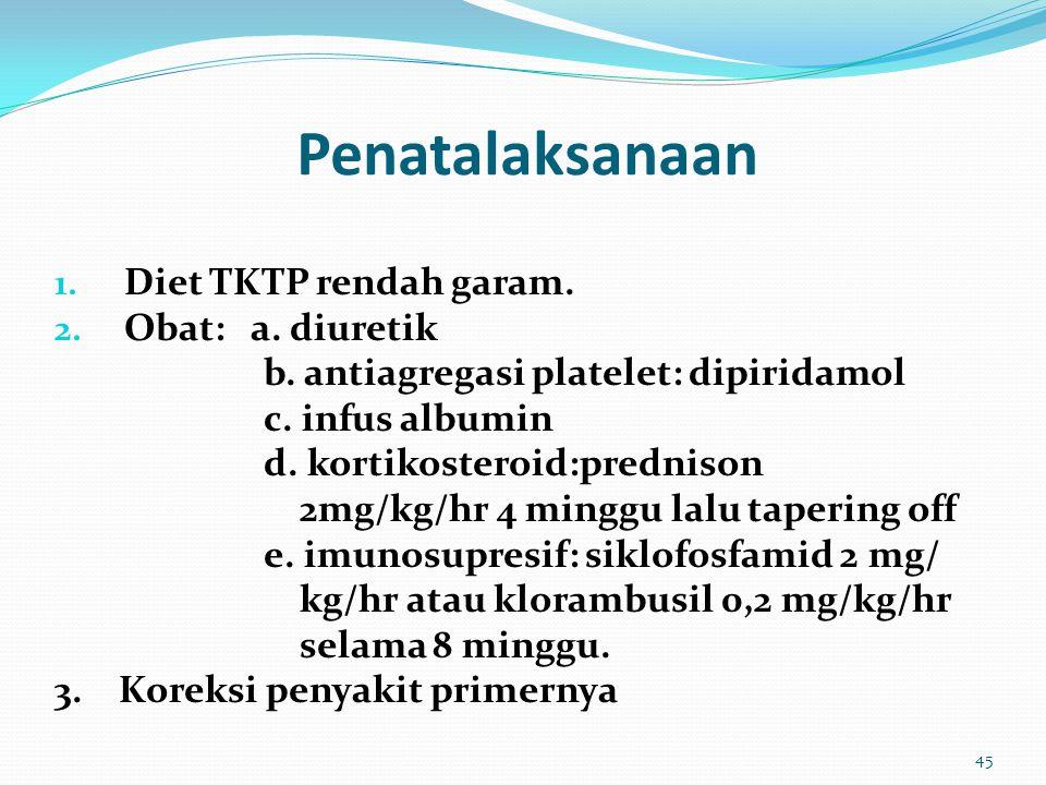 Penatalaksanaan Diet TKTP rendah garam. Obat: a. diuretik