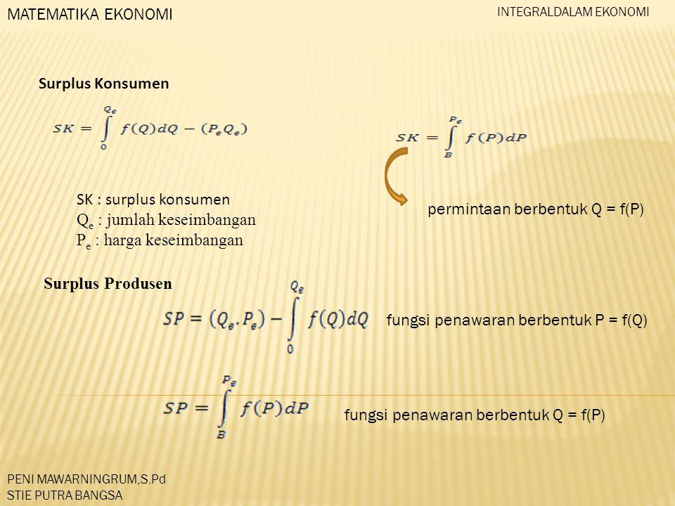 Qe : jumlah keseimbangan Pe : harga keseimbangan