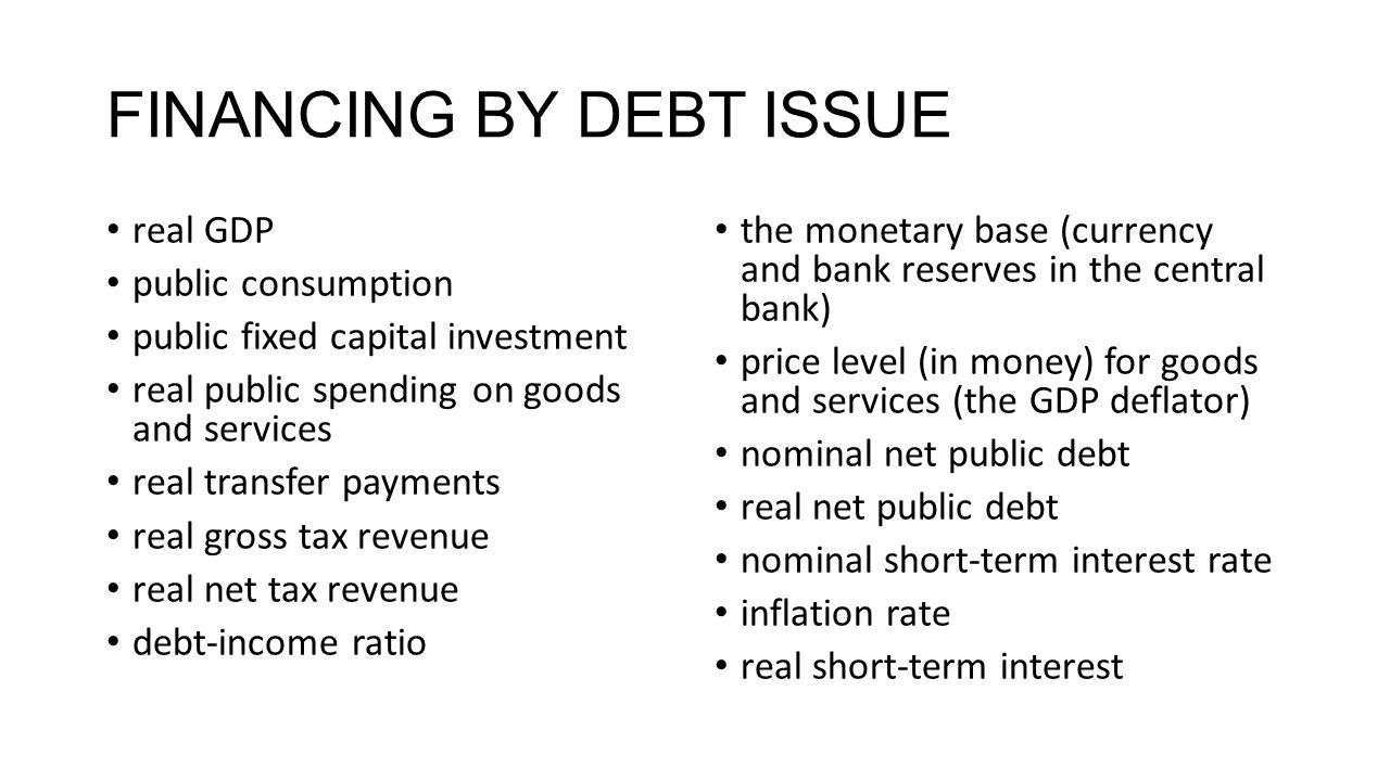 FINANCING BY DEBT ISSUE