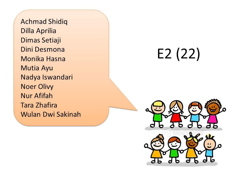 E2 (22) Achmad Shidiq Dilla Aprilia Dimas Setiaji Dini Desmona
