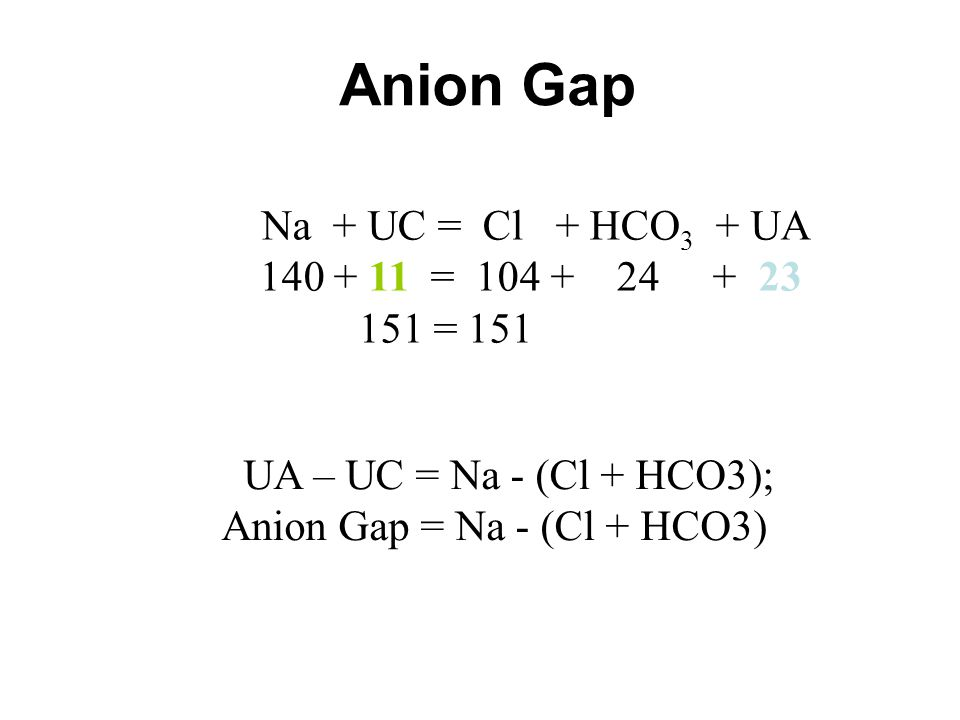 Anion Gap = Na - (Cl + HCO3)