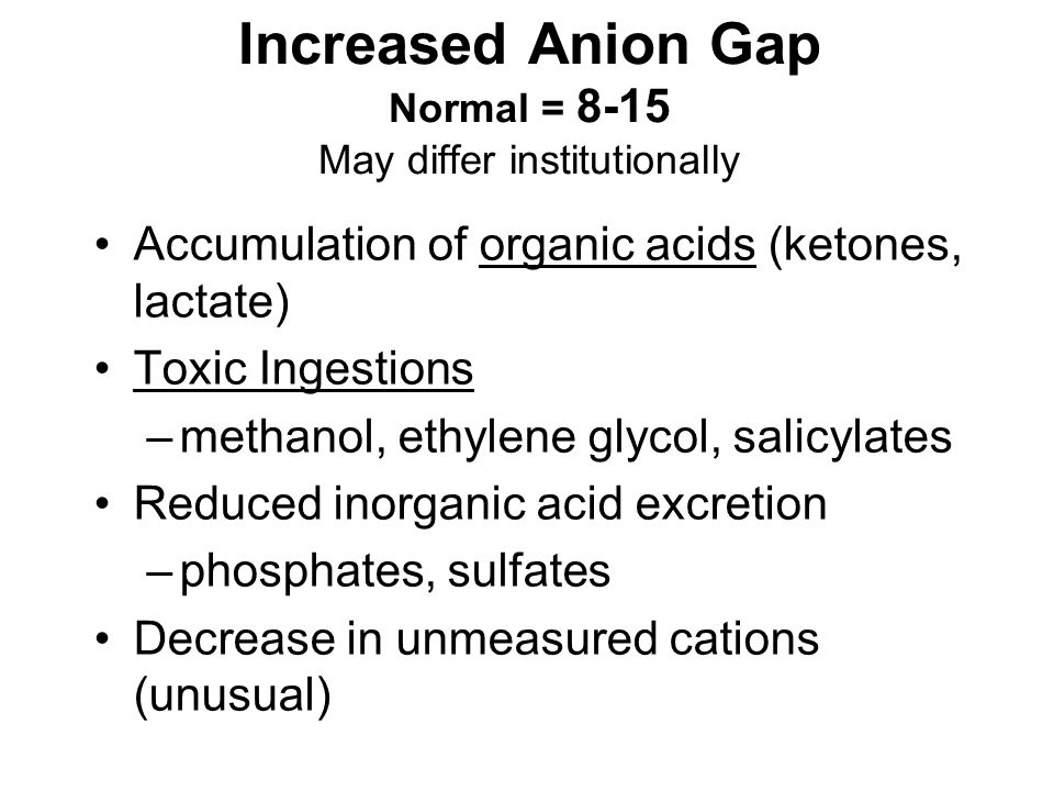 Increased Anion Gap Normal = 8-15 May differ institutionally